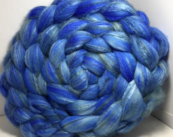 Merino/Baby Camel/Tussah 60/20/20 Roving Combed Top - 5oz - Little Boy Blue 2