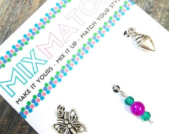 MIX MATCH - Charm Batch 2 - Intricate Silver Butterfly Charm, Magenta & Teal Glass Beaded Charm, Little Ice Cream Cone Charm