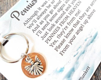 Pennies From Heaven Keychain  - Original Poem - With Penny & Beautiful Alleluia Angel Charm
