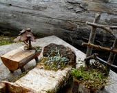 Fairy Furniture Set, Bed, Chair, Table, Natural and reclaimed Materials, miniature fairy house accessories, bedroom furniture