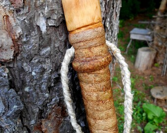 "Rustic Walking stick, 50"" Tall Natural Wood hiking staff with Hemp Lanyard, Hand made wooden walking stick"