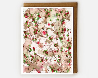 Holly Berries Card, Blank Card, Winter Holiday Card, Holly Berry, Foliage, Forest, Birch Trees, Winter Lover, Pretty Card for Her, Mom, Sis