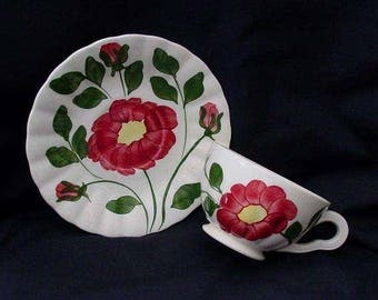 SALE Blue Ridge Cup and Saucer Hand Painted RED NOCTURNE Variant Vintage Set Southern Potteries Colonial Dinnerware   (B36) 9999