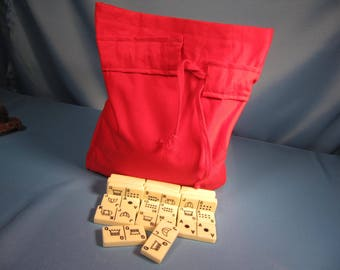 POKER DOMINO SET in Cloth Sack, Vintage large size Poker Domino set in hand made cloth sack, 71 poker Domino tiles in bag, 71 large poker