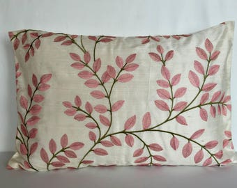 Off white decorative floral pillow egg white dupioni silk with blush pink leaf embroidery  throw pillow cover. 14x22 inch oblong cushion .