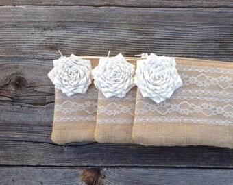 Set of 7 Bridesmaid Clutches, Will You Be My Bridesmaid, Flower Girl Gift, Summer Wedding Purse, Burlap Wedding Bag, Rustic Wedding Clutch