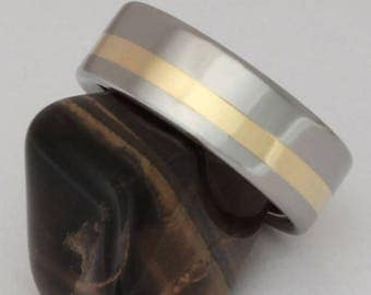 Gold Titanium Wedding Band with 18k Gold Inlay, Gold and Titanium Ring, Man's Wedding Ring, Woman's Wedding Ring, Handcrafted Titanium - g9