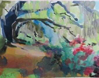 impressionist watercolor landscape - low country -  South Carolina - plantation - 5x7 - gouache - green - orange - Angel Oak - trees - art