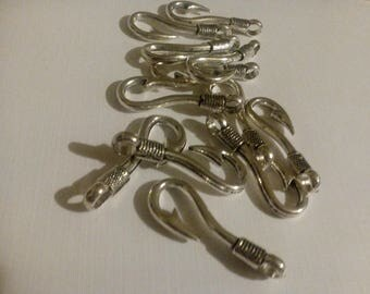 12 Fishing Hook Charms, Silver Hooks, Hook Pendants, Key Chains, Key Fobs, Zipper Pulls, Purse Pulls, Findings
