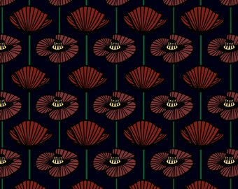 Midnight Poppies Fabric - Midnight Poppy By Sarah Twist - Moody Modern Floral Home Decor Cotton Fabric By The Yard With Spoonflower