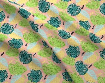 Monstera Fabric - Party tropical By Lizmytinger - Tropical Monstera Leaf Jungle Modern Cotton Fabric By The Yard With Spoonflower