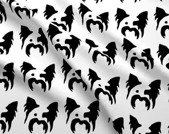 Yorkie Fabric - Dog Yorkshire Terrier Small In A Row By Mariafaithgarcia - Black and White Yorkie Cotton Fabric By The Yard With Spoonflower