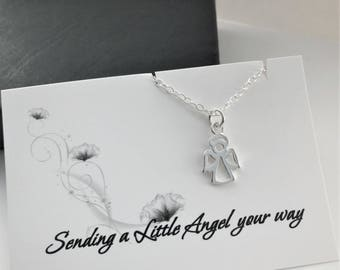 Guardian Angel Necklace - Sterling Silver Tiny Angel Necklace - Necklace with a Message Card