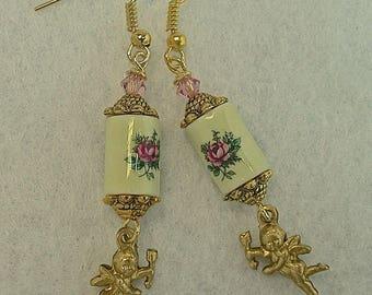 Vintage Japanese Tensha Pink Rose Bead Earrings,Vintage Brass Cupid Charms,Vintage Pink Swarovski Crystal Beads, Gold French Ear Wires