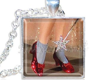 "25% OFF - Wizard of Oz Ruby Red Slippers Shoes Dorothy 1"" Square Glass Pendant or with Necklace - SQ130"