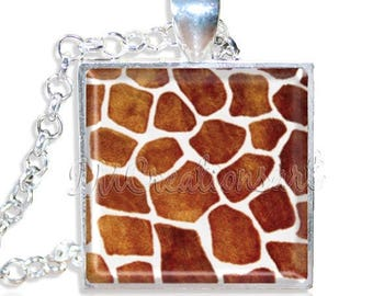 "20% OFF - Giraffe Animal Print Pattern 1"" Square Glass Pendant or with Necklace - SQ154"
