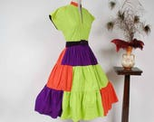 FLASH SALE Vintage 1950s Dress - Bold Lime Green, Purple and Hot Coral Colorblock Cotton Circle Skirt 50s Summer Dress