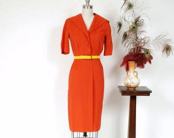 Memorial Weekend Sale - Vintage 1950s Dress - Darling Pumpkin Orange Rayon Linen 50s Day Dress with Wiggle Cut and Sailor Collar