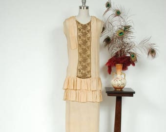 50% CLEARANCE Vintage 1920s Dress - Palest Yellow Silk Drop Waist Picnic 20s Dress with Gold Metallic Lamé Lace and Ruffles - Autumn Helios