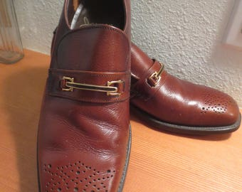 "Vtg Jarman for Men Slip On Horse Bit Oxford Shoes / Brown Leather / Wing Tip Toes / Leather Soles / 11"" insole measurement"