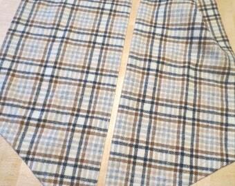 "Vtg Pendleton Plaid Scarf / Pointed Ends / 8"" wide 74"" long / tan black brown plaid"