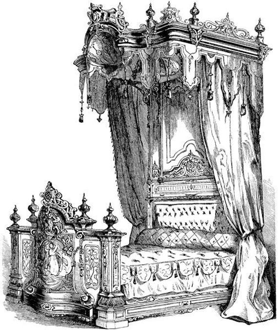 antique carved canopy bed png clipart graphics french furniture illustration printable art digital download images