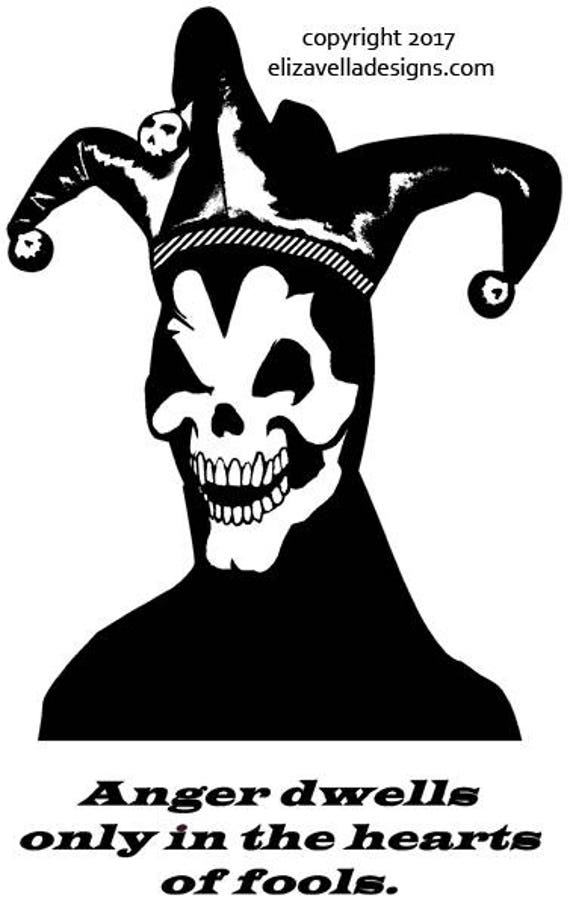 "Jester fool skull anger quotes printable art digital download image graphics 7.6"" x 12"" goth skeleton black and white artwork"