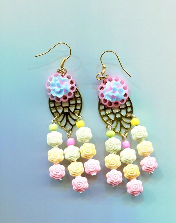 pastel rose chandelier earrings flower earrings long dangles drops flower beaded floral handmade jewelry by Elizavella