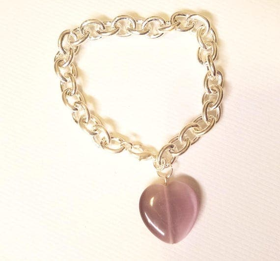 purple glass heart silver chain bracelet womens simple heart jewelry cats eye costume jewelry handmade glass jewelry