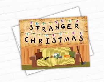 Stranger Things PRINTABLE Christmas Card, Geeky Christmas Greeting Card, Awesome Christmas Cards, Eggo, Holiday Cards, Christmas Lights Card
