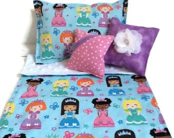 Princess doll bedding set comforter pillows, american style 18 inch doll, 14 to 18 inch waldorf doll, bitty babies twin toy animal girl gift