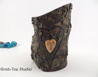 Heart Box, Engagement Ring Box, Rustic Wedding Favor Box, Treasure Boxes, Bandsaw Box, Jewelry Box, Grahtoe Studio,Tooth Fairy Box