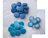 Small Blue Buttons, 14mm 1/2 inch - Little Flat Top Plastic Blue Sewing Buttons - CHOOSE Marbled Aegean PL652, Swirled Sky PL653