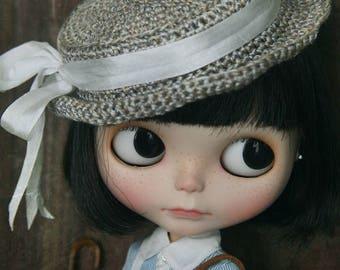 jiajiadoll - handknit cotton straw bowknot hat fit momoko misaki blythe azone middie lati imda