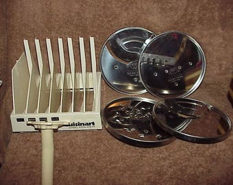 Vintage--Cuisinart Food Processor BLADES & Rack And Detachable Stem--4 Blades--836-837-844-846