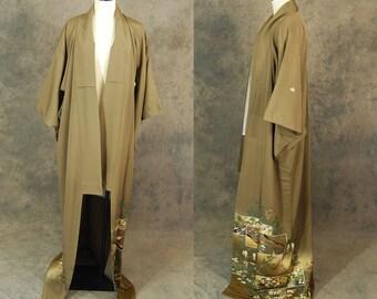 vintage 60s Kimono - 1960s Floor Length Silk Kimono - Brown and Gold Kimono Robe Sz S M L