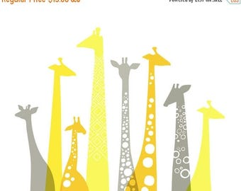 "SUMMER SALE 10X8"" giraffe silhouettes landscape giclee print on fine art paper. lemon, sunflower, and schoolbus yellow and gray."