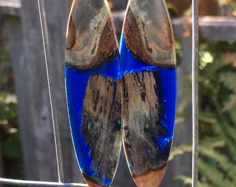 Super 3 Inch Long BLue Infused Birch And Blue Resin Earrings