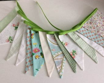 Green Bunting / Fabric Garland, - green and aqua fabrics, Birthday flags, Bedroom Decoration, Photo Prop