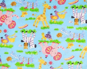 Baby Blue Zoo Animal Cotton Fabric by Rose & Hubble, Kid's Blue Jungle Animal Fabric, Nursery Patterned Cotton Fabric