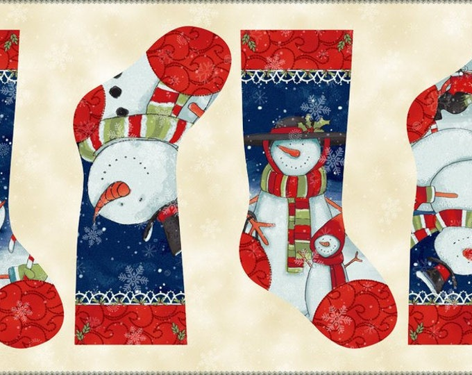 Christmas Fabric, Chilly Silly Snowmates Christmas Stocking Panel by Studio E Cotton