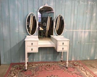 Antique vanity white shabby chic distressed