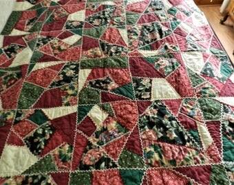 Crazy Quilt, Burgundy Crazy Quilt, Handmade Quilt, Patchwork Quilt, Handmade Blanket, Sofa Blanket, Cotton Quilt