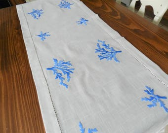 Blue EmbroideredTable Runner, Hand Embroidered Table Runner, Handmade Runner, Blue  Runner, Dresser Scarf