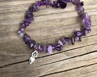 Birth Power Bracelet. Birth Goddess and Amethyst (Mother blessing, blessingway, doula, midwife, childbirth)