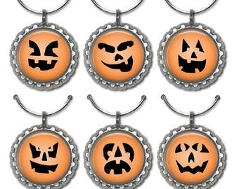 Halloween Wine Charms, Party Favors, Wine Tags, Jack O Lantern, Pumpkins, Trick or Treat, Wine Accessories, Stemware