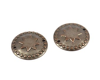 Vintage Bohemian Finding, 15 Antique Copper Brass Star Round Charms Findings (20mm) Pen 411 K179