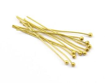 Brass Ball Head, 500 Raw Brass Ball Pins, Findings (35x0.7x1.8mm)  Bp-10  BRC220
