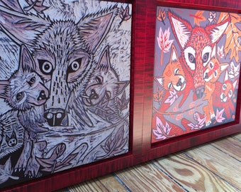 Framed Red Wolf endangered species original hand pulled woodcut