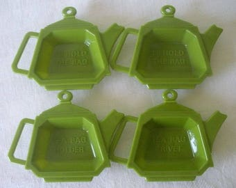 4 Vintage Plastic Tea Bag Holders Tea Pot Shape Tea Bag Trivet-Tea Bag Holder-I'll Hold The Bag Vintage Kitchenware